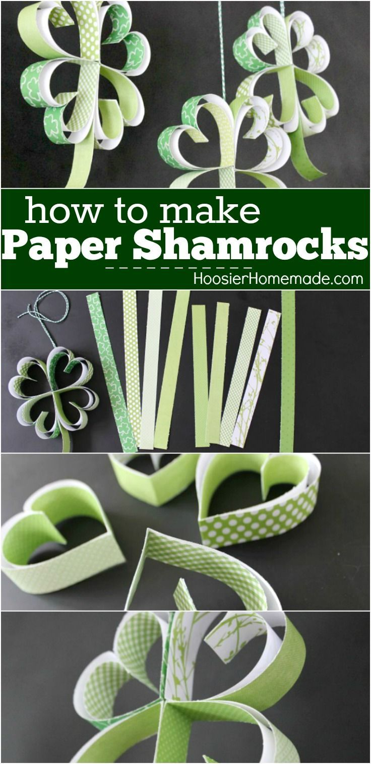 Learn how to make these adorable Paper Shamrocks! A fun St. Patrick's Day Cr...