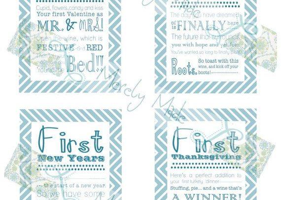basket gifts set of 12 instant download bridal shower wine basket gift tags teal chevron