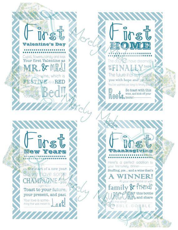 Set of 12-INSTANT DOWNLOAD - Bridal Shower Wine Basket Gift Tags -Teal Chevron- Digital File