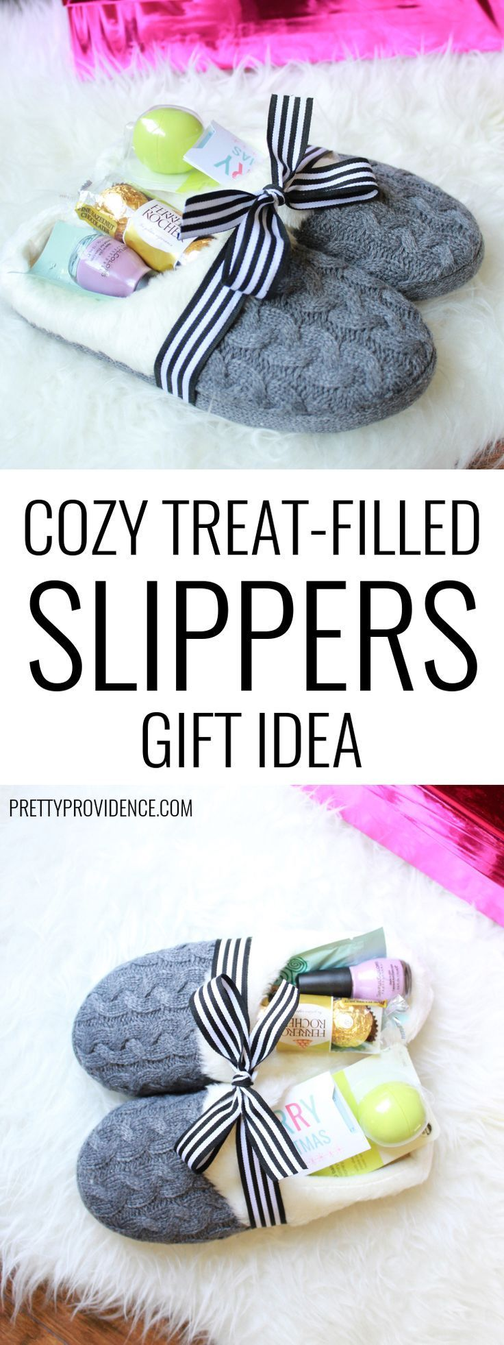 Slippers make a great gift and they are even better when filled with little trea...
