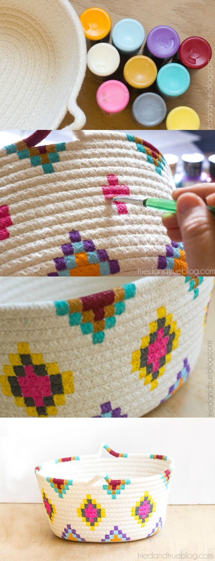 This Kilim-Inspired painted basket tutorial is an easy way to try out a fun new ...