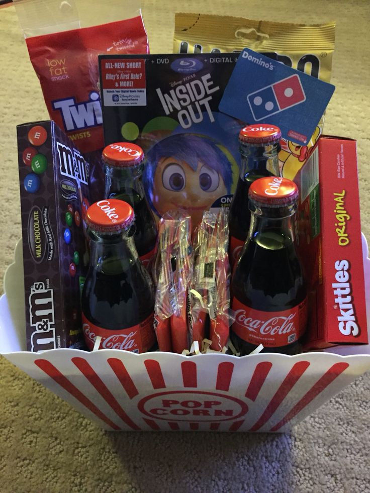 Family movie night basket that our school will raffle off during our movie night...