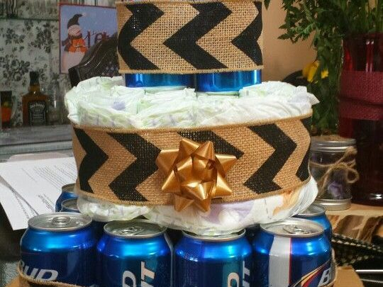 Basket Gifts Father Beer Diaper Cake Diy Baby Shower Gift Basket