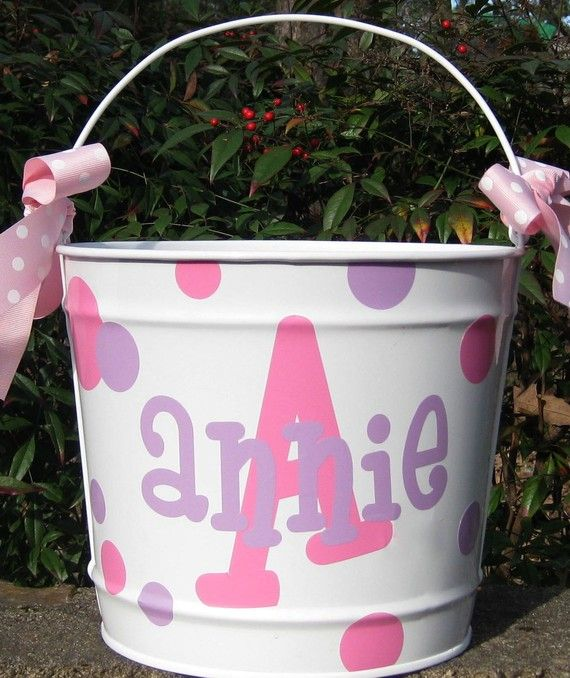 Personalized Easter Basket Easter Bucket by happythoughtsgifts: thought of you @...