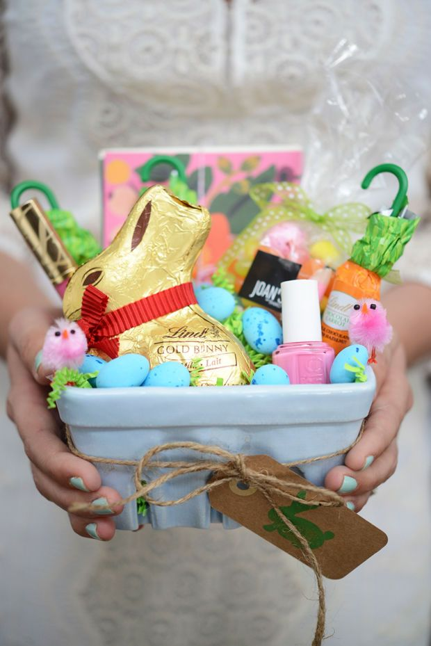 Repurpose your strawberry basket into an adorable gift-filled Easter basket.