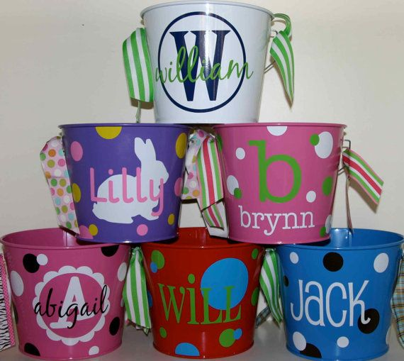 Custom Easter Basket Bucket  Monogrammed by happythoughtsgifts, $24.00