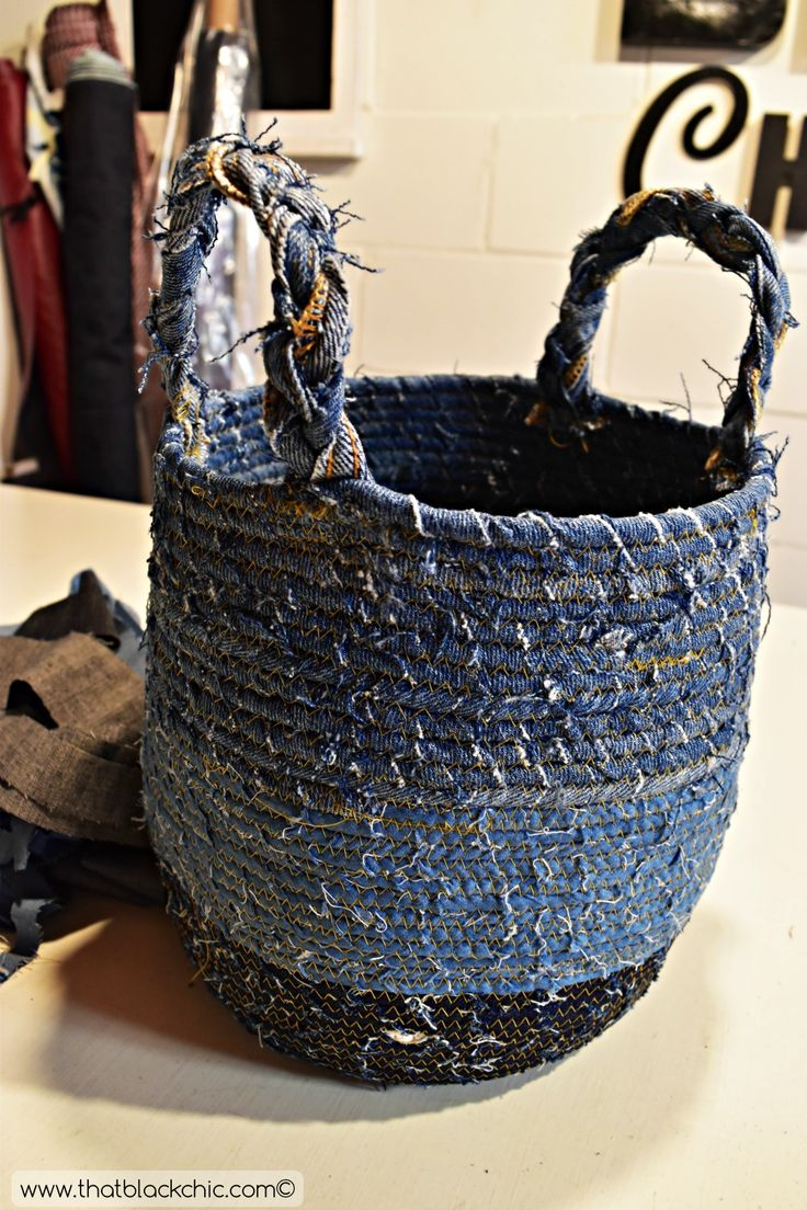 DIY Rope Basket with Recycled Denim [...And the Fabric Mart gift certificate winner is announced!
