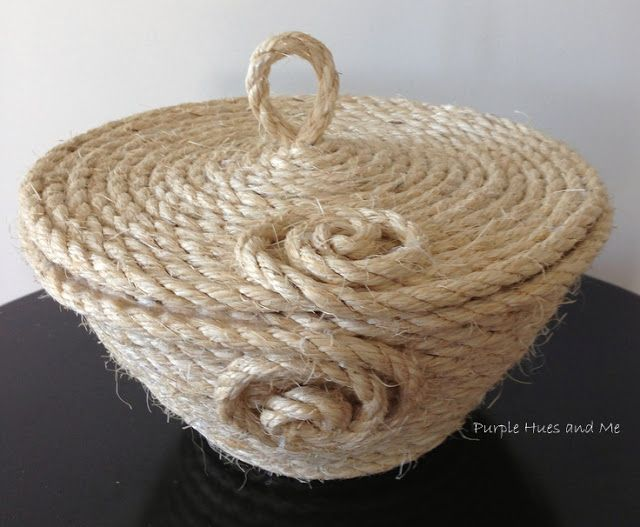 Coiled Sisal Rope Basket with Lid DIY