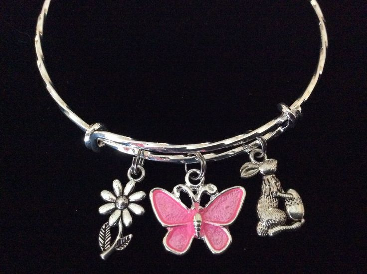 Easter Bunny with Butterfly Twisted Expandable Charm Bracelet Silver Adjustable Wire Bangle Basket Gift
