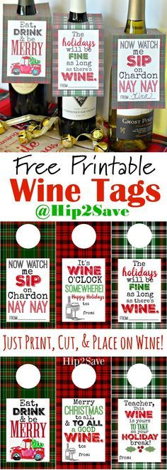 Free Printable Holiday Wine Tags (Easy Gift Idea)