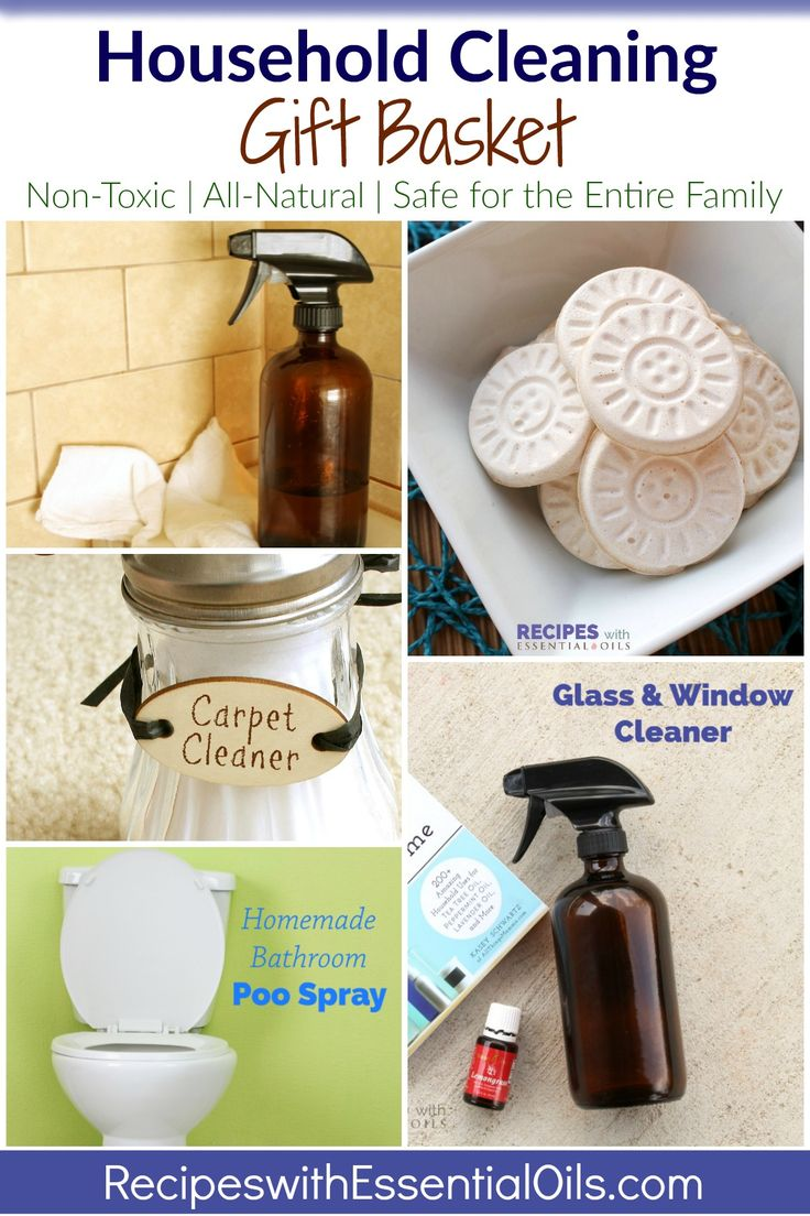 Household Cleaning Gift Basket ~ an oily gift idea for a pure, non-toxic home from RecipeswithEssentialOils.com