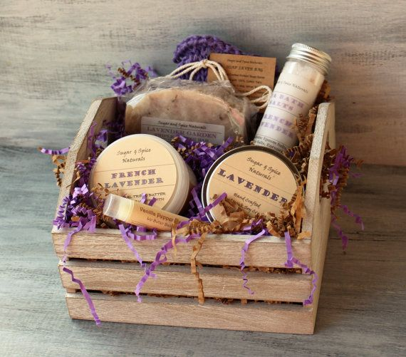 Lavender Soap Spa Bath & Body Gift Basket with Soap, French Lavender Body Butter, Bath Salts, Wood Wick Candle, Natural Spa Bath luxury set