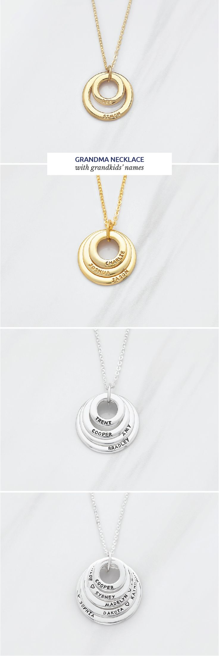 Grandma necklace with grandkids' names • Grandmother necklace • Personal...