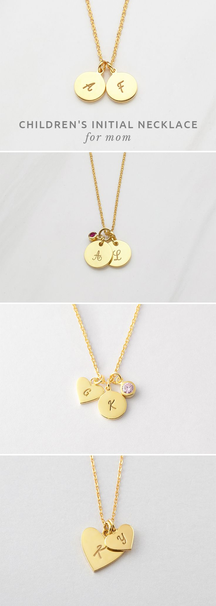 Initial Necklace • Double Initial Necklace • Children's Initial Necklace...