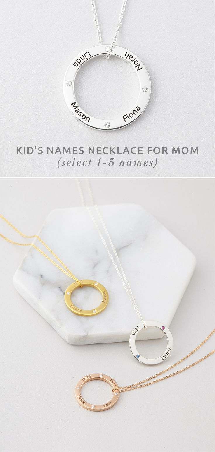kids' Names Necklace For Mom • Mother and child necklace • Circle neckla...