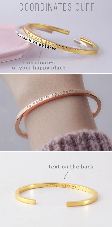Coordinates Cuff • Slim Coordinates Bracelet Cuff • Squared Bracelet with Co...