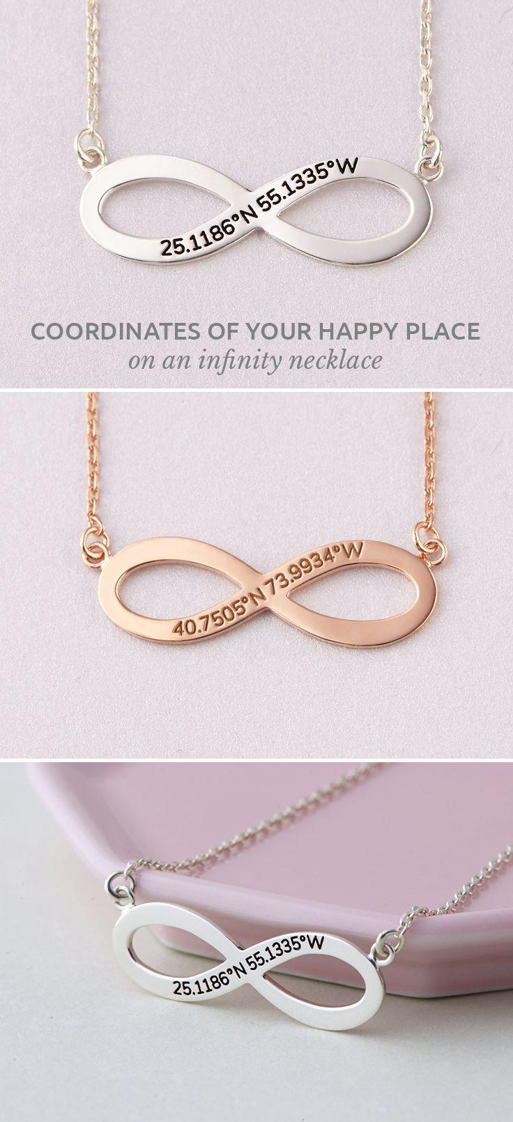 Infinity Coordinate Necklace • Coordinates Necklace • Longitude Latitude Nec...
