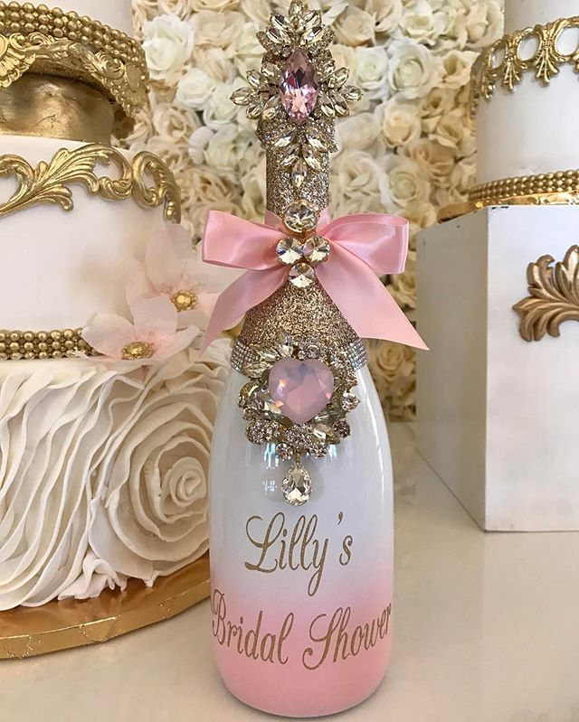 Lilly Ghalichi's Bridal Shower Bling Memory Bottle created by Champagne Biso...