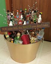 A liquor gift basket I made for a silent auction.  Can I just keep it for myself...