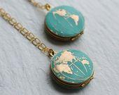 World Map Locket Personalised Globe Necklace Planet Earth   Etsy