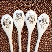 Custom Woodburned Owl Spoons, Whimsical Owls, Series 2 (EFGH), mixing spoons, housewarming, kitchen