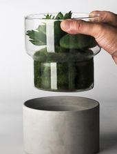 Modern Two-Tone Concrete and Glass Vase/Perfect Housewarming Gift/Graduation Gift