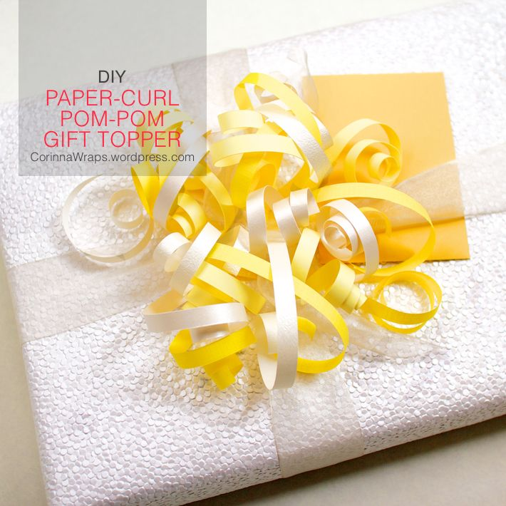 Wedding Shower Gift Wrapping: DIY Paper-Curl Pom-Pom Gift Topper