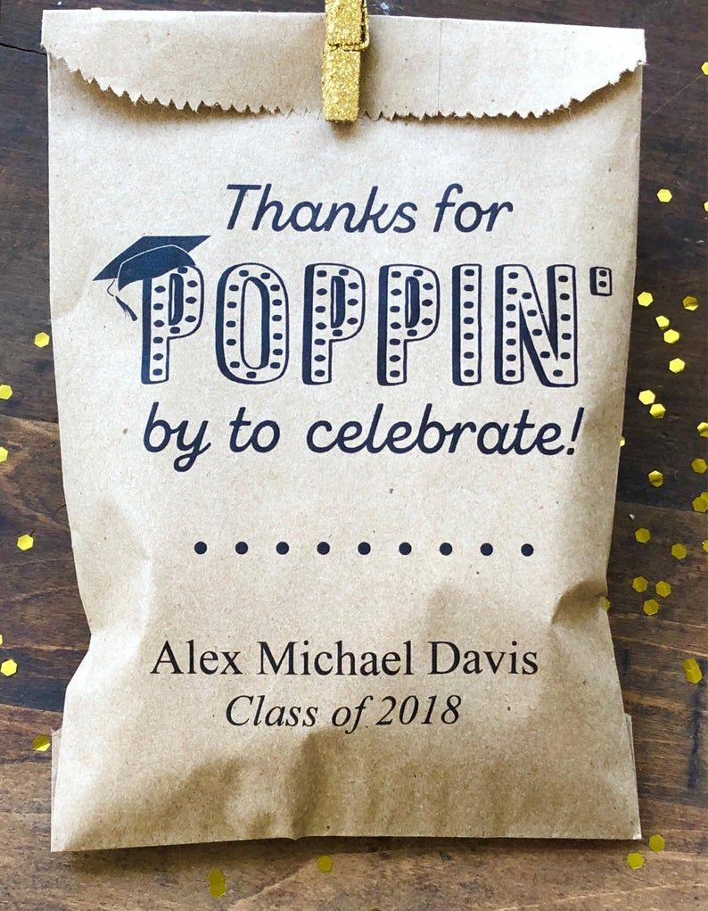 Graduation Favors, Popcorn Buffet Bag, 25 Favor Bags, Cookie Bar, Custom Treat Bags, Personalized Graduation Party, Graduation Favor