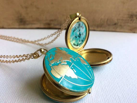 Personalized World Globe Locket, World Map Locket Turquoise Globe Locket Personalized Travel Gift and Graduation Gift