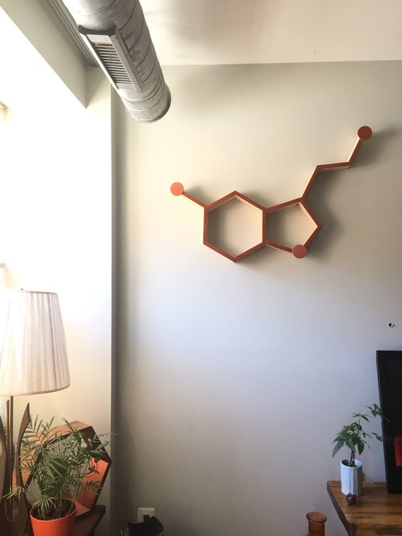 Serotonin Molecule, Serotonin Molecule Wall Art, Molecule Wooden Wall Shelf, Serotonin Molecule Art, Gifts for Scientists, Graduation Gift