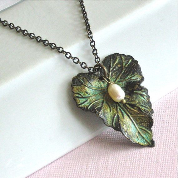 Leaf Necklace - Verdigris Patina, Pearl, Leaf Jewelry, Botanical Jewelry, Gift for Woman, Nature Gift, Graduation Gift, Gift for Teen Girl
